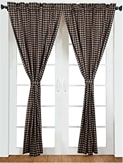 VHC Brands 20206 Black Check Scalloped Panel Set of 2 84x40