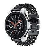 Buybuybuy Compatible Samsung Galaxy Watch (46mm) Bands, 22mm Galaxy Watch Band Luxury Solid Stainless Steel Metal Replacement Bracelet Strap fit Samsung Galaxy Watch (Galaxy Watch 46mm, Black)