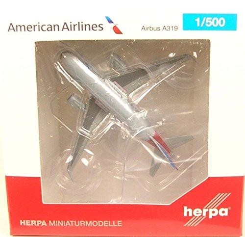 Airlines American 500 - Herpa Wings Herpa 530835 American Airlines Airbus A319 1:500 Scale Diecast REG# N8001N