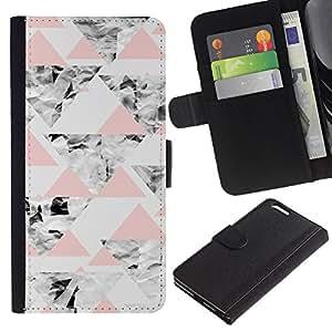For Apple iPhone 6 Plus(5.5 inches),S-type® Grey Pink Peach Abstract Polygon Pattern - Dibujo PU billetera de cuero Funda Case Caso de la piel de la bolsa protectora