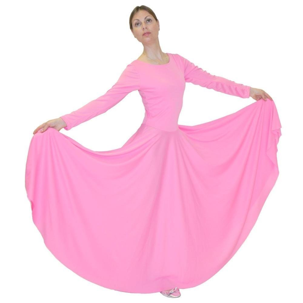 699553f96ef7 Danzcue Womens Praise Loose Fit Full Length Long Sleeve Dance Dress ...