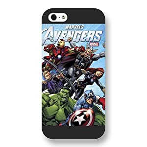 meilinF000UniqueBox Customized Marvel Series Case for iPhone 5 5S, Marvel Comic Hero The Avengers iPhone 5 5S Case, Only Fit for Apple iPhone 5 5S (Black Frosted Case)meilinF000