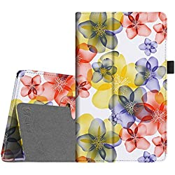 Fintie Folio Case for Amazon Fire HD 8 (Previous Generation - 6th) 2016 release - Slim Fit Premium Vegan Leather Standing Protective Cover With Auto Wake / Sleep, Floral Yellow