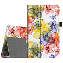 Fintie Folio Case for All-New Amazon Fire HD 8 (6th Generation, 2016 release), Slim Fit Premium Vegan Leather Standing Cover Auto Wake/Sleep for Fire HD 8 Tablet (2016 6th Gen Only), Floral Yellow