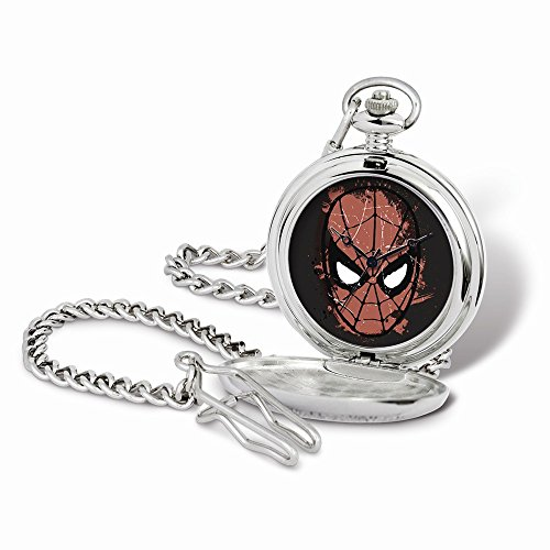 Marvel+Watches Products : Marvel Spiderman Face Pocket Watch w/Chain