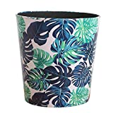 HMANE Wastebasket, 7.48x7.48x7.48Inch British Style Trash Bin Paper Basket Waste Can Wastebin Dustbin Garbage Bin Without Lid - (Green Leaves Pattern)