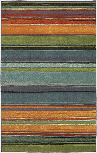 Mohawk Home New Wave Rainbow Striped Printed Area Rug, 5'x8', Multicolor (Scheme Room Brown Living Color)