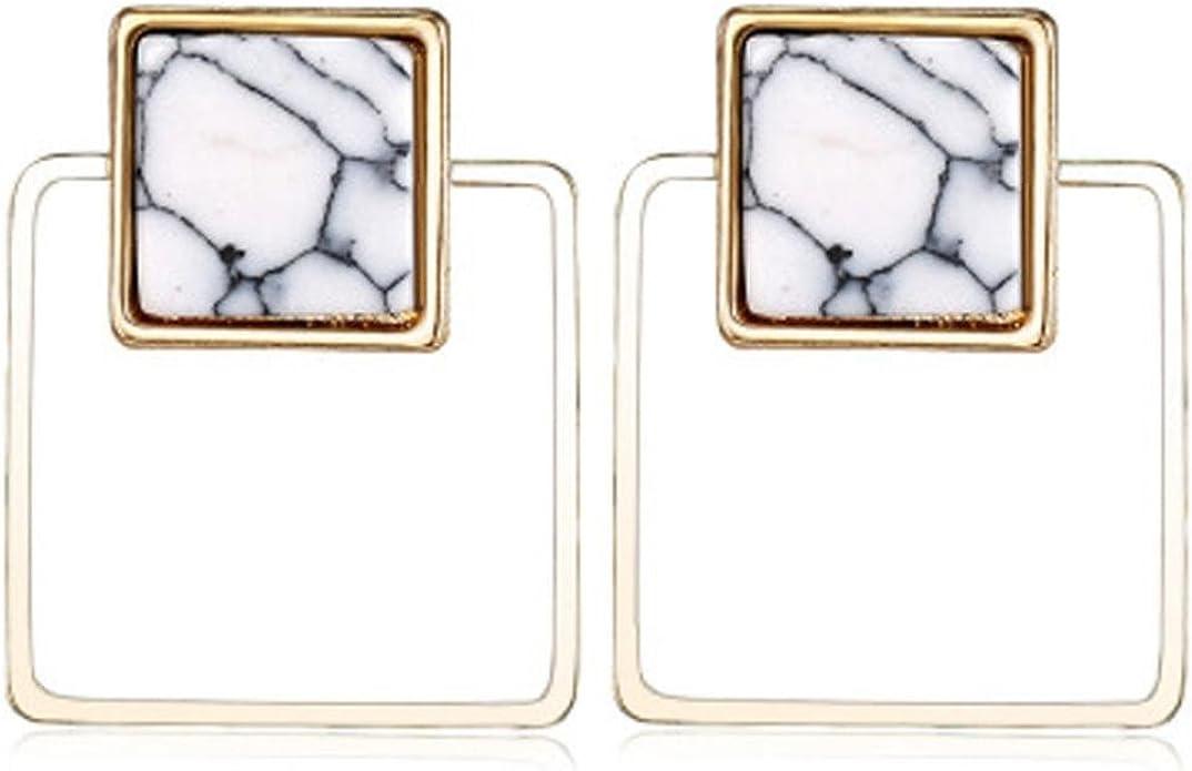 Gusspower 1 par Pendientes sencillos Pendientes triángulo Pendientes elegantes Pendientes geométricos de mármol turquesa