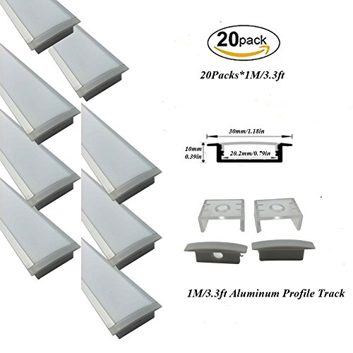 Hanks 20Pack 1M/3.3ft 30x10mm Recessed LED Aluminum Channel With Milk Cover End Caps and Mounting Clips Aluminum Channel for Width <20mm Strip Light (20X1M Milk) by Hanks