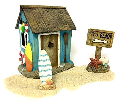 (Pabu Guli Miniature Beach Kit Featuring Surf Shack, Beach Sign, Surfboard and Sand for Fairy Garden, Terrarium or Home Decor )