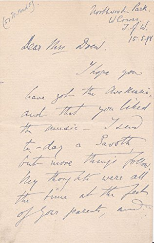 AUTOGRAPH LETTER SIGNED BY PIANIST MARIA JANOTHA TO MARY DREW, DAUGHTER OF PRIME MINISTER W. E. - Prussia The Of King Court