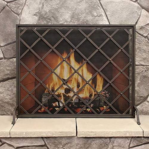 暖炉スクリーン シングルパネル大型フラットガード暖炉スクリーン、錬鉄製メタル装飾メッシュ、ベビーセーフスパークガードプロテクターカバー、黒、31 H×39 W
