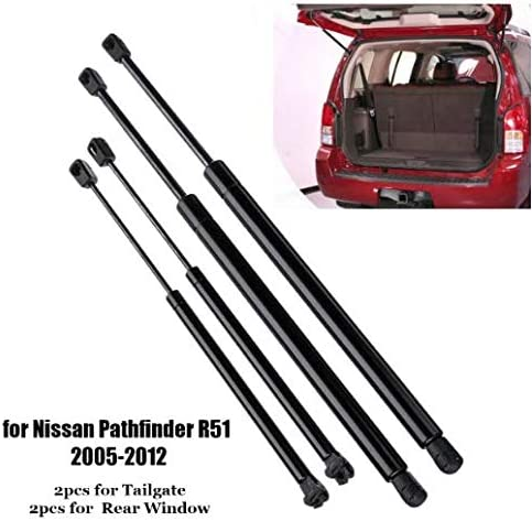JenNiFer 4Pcs Car Rear Window Tailgate Gas Strut Support Tail Lift Bar for Nissan Pathfinder R51 2005-2012