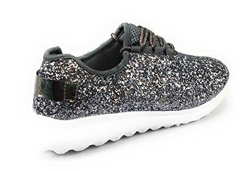 Forever Link Damen Peggy 44 Glitter Metallic gesteppte Schnürschuhe Low Top Fashion Sneaker Zinn
