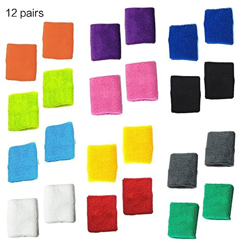 12 different colors Cotton Sweat Sports Basketball Wristband -(12Pairs)