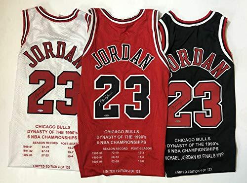 20385ad30 MICHAEL JORDAN Autographed Chicago Bulls Nike Original Three Jersey  Collector Set UDA Limited Edition 4 of 123