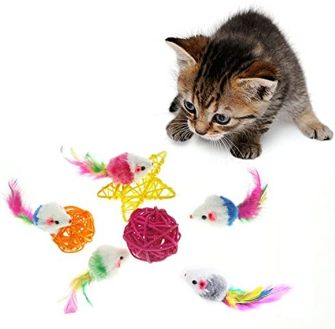 Aftermarket Furry Pet Cat Toys Mice, Cat Toy Mouse, Pet Toys for Cats, Cat Catcher for Feather Tails, 10 Counting 8