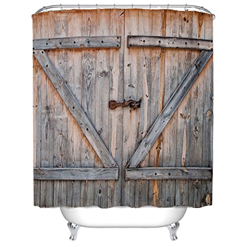 WAYLONGPLUS Country Decor Old Wooden Garage Door American Country Style Decorations for Bathroom Photography Print Polyester Fabric Shower Curtain Included ...  sc 1 st  Amazon.com : coutry door - pezcame.com