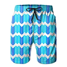 Vvw4 Blue Quadrilateral Pattern Quick Dry Water Beach Board Shorts Bathing Swimming Trunks With Poket For Men