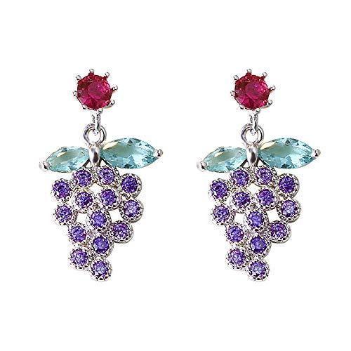 SUHOW Dangler Eardrop Ear line Stud Earring,Exquisite Fruit Grapes with Zirconium Earrings