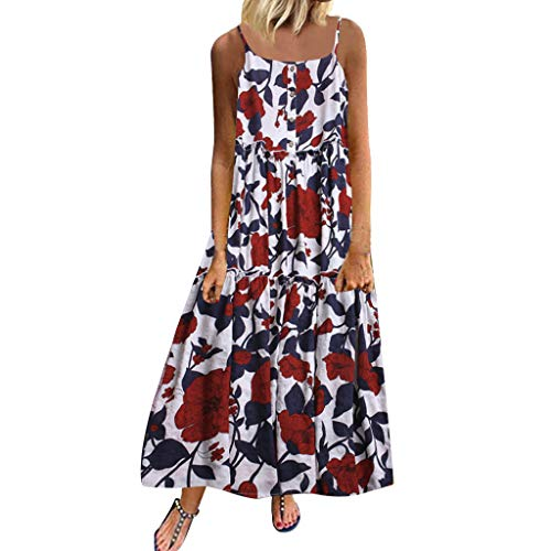 Organza Strapless Drop - Sunmoot Clearance Sale Women's Linen Floral Dress Plus Size,Ladies Casual Loose Sleeveless Print Boho Retro Long Maxi Dresses White