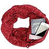 LIULIULIUWomen Solid Winter Convertible Infinity Scarf Pocket Loop Zipper Pocket Scarves (Red)