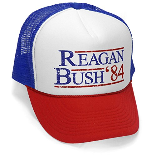 Ronald Reagan Baseball - Reagan Bush '84 - Funny Retro Vintage Style - Unisex Adult Trucker Cap Hat, RWB