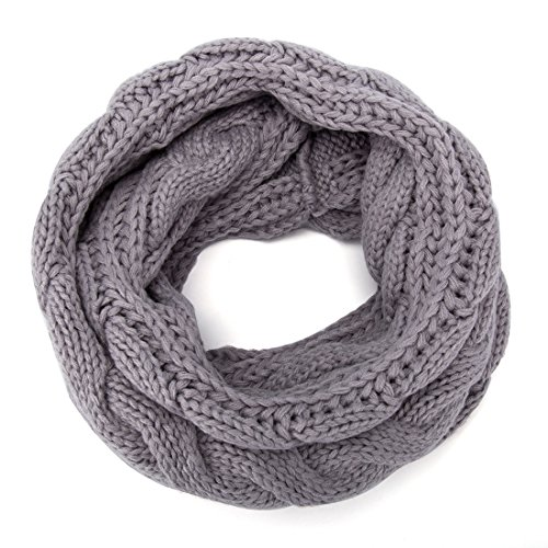 ALLMILL Womens Thick Ribbed Knit Winter Infinity Circle Loop Scarf (Light Grey)