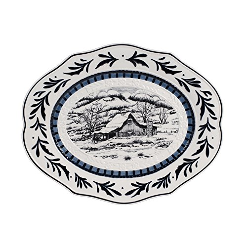 Serving Holiday Oval Platter (Fitz and Floyd 49-622 Bristol Holiday Platter Serving, Blue/White)