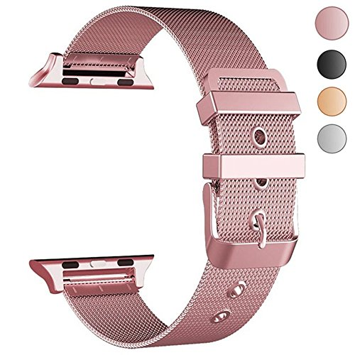 Yolovie Compatible with Apple Watch Band 38mm 40mm Stainless Steel iWatch Bands With Classic Buckle Replacement Strap for Series 4 /3 / 2 / 1 ( Rose Gold Pink )