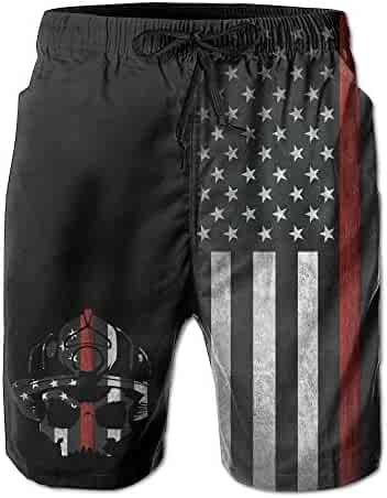 be71c420ebe0e BANGBIG Men Fireman Skull Thin Red Line Flag Summer Breathable Quick-drying Swim  Trunks Beach