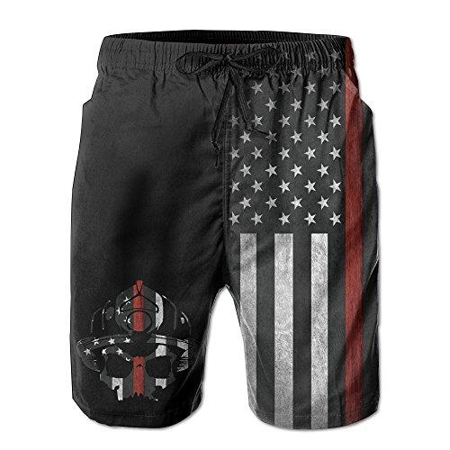 BANGBIG Mens Fireman Skull Thin Red Line Flag Summer Breathable  Quick-drying Swim Trunks Beach Shorts Board Shorts XX-Large