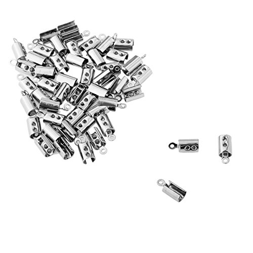 HooAMI Stainless Steel Silver Fold Over Cord Tip Ends Crimps Jewelry Findings 50pcs, 9.6x4mm (Fold Over Crimp)