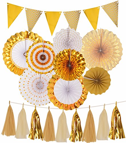 Gold Party Decorations, Gold Paper Fans Decorations, Sparkly Paper Pennant Banner Triangle Flags+Tissue Paper Tassels Garland, Gold Paper Fan Hanging for Baby Shower, Birthday Party, Wedding