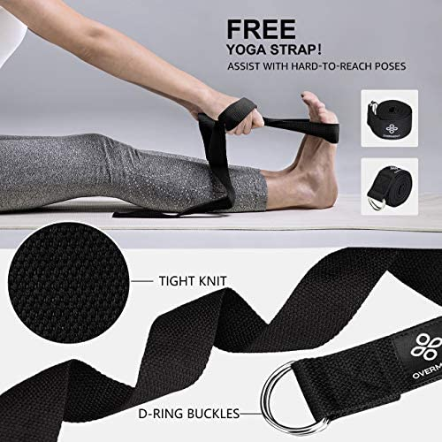 Overmont 5-in-1 Set, 1 Yoga Wheel for Back Pain- 13x 5in, 2 EVA Foam Yoga Blocks with Strap, 1 Extend Ring Premium Back Roller for Dharma Yoga Pose Backbend Stretching Pilates Meditation