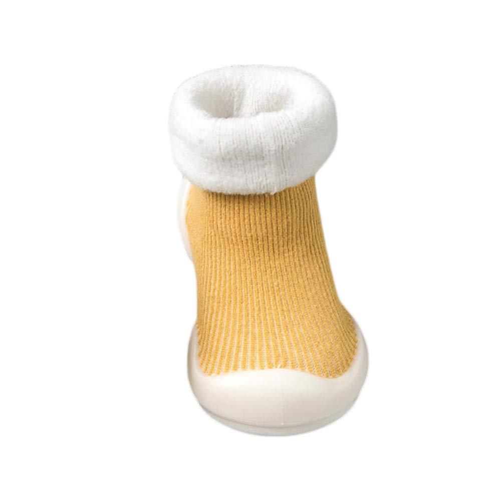 Mitlfuny Bebé Niños Niñas Invierno Calentar Zapatos para Niño Piso Calcetines Suelas de Goma Zapatillas para Niña Primeros Pasos de Antideslizantes Suela Blanda Boots de Algodón 0-18 Mes