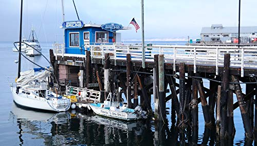 Framed Art for Your Wall Shed USA Ship Water Port California Monterey Bay Vivid Imagery 10 x 13 Frame