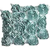 SeptCity Decorative Throw Pillow Covers for Couch Cushion Case, Romantic Love Satin Rose Wedding Party Home Decor , Home Gift (Set of 2)-Turquoise