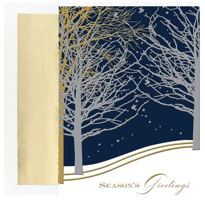 Snow on a Winter Night Boxed Holiday Cards by Masterpiece Studios, Set of 16 (Masterpiece Studios Stationery)