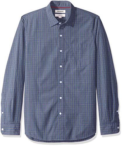 Indigo Mens Shirt - Goodthreads Men's Slim-Fit Long-Sleeve Poplin Small Scale Check Shirt, Indigo, XXX-Large