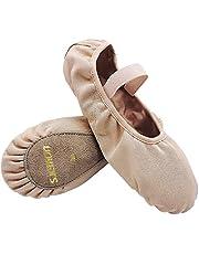 S.lemon Elastische Canvas Balletschoenen Dansschoenen voor Meisjes Kinderen Dames Heren Wit Zwart Roze Beige