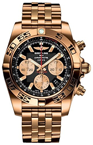 Breitling Chronomat Solid Rose Gold Watch, Black Dial,