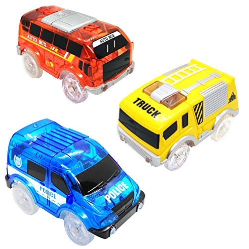 Track Cars Compatible with Magic Tracks and Neo Tracks Light Up Racing Track Accessories with 5 Flashing LED Lights Glow in The Dark Best toys for Boys and Girls ( 3 Pack )