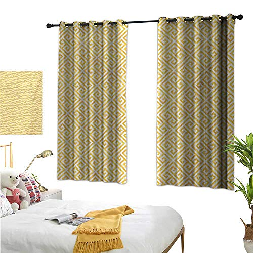Warm Family Eclipse Curtains Greek Key,Yellow and White Tile Pattern with Twisted Lines in Squares Grunge Looking Maze,Yellow White 72
