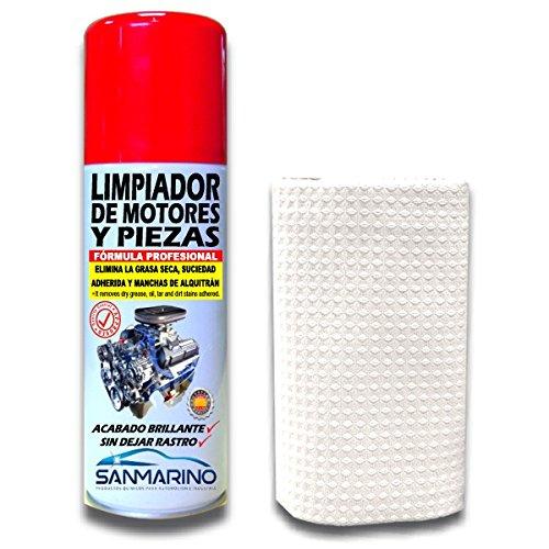 SANMARINO LIMPIADOR DE MOTORES Y PIEZAS SPRAY 520CC. + BAYETA
