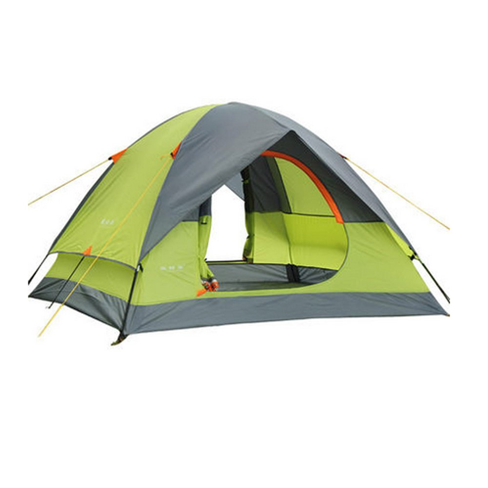 Outdoor Camping Rainproof Sunproof Windproof Hiking Picnic Double Layer 3-4 Person Tent with Carry Bag, Green