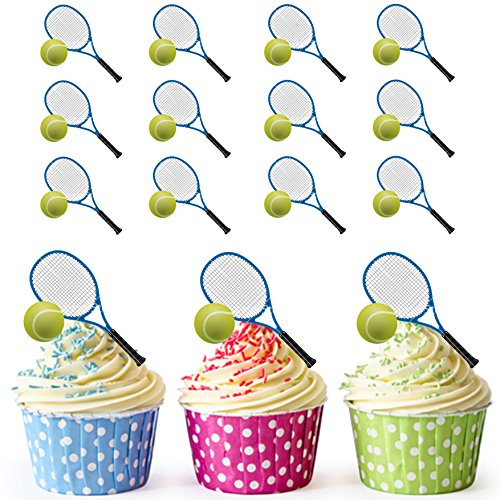 AKGifts Tennis Racket And Ball Cupcake Toppers / Cake Decorations (Pack of 12) (7 - 10 BUSINESS DAYS DELIVERY FROM (Tennis Racquet Decorations)