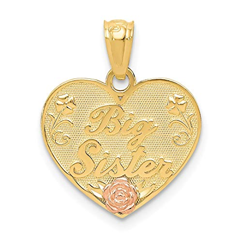 ICE CARATS 14kt Two Tone Yellow Gold Big Sister Heart Pendant Charm Necklace Love Fine Jewelry Ideal Gifts For Women Gift Set From Heart (Sister Gold Charm Big)