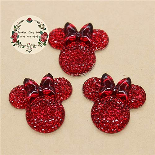 Aquaman Store Figurines & Miniatures - 20pcs Kawaii Resin Shiny Rhinestone Bling Minnie Mouse Flatback Cabochon DIY Hair Bow Center Scrapbooking,2528mm 1 PCs ()