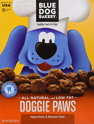 Blue Dog Bakery All Natural and Low Fat Peanut Butter and Molasses Doggie Paws 10 Ounce 2 Pack